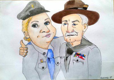 Karykatura babci i dziadka