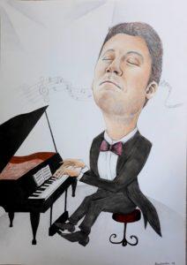 Karykatura z pianinem