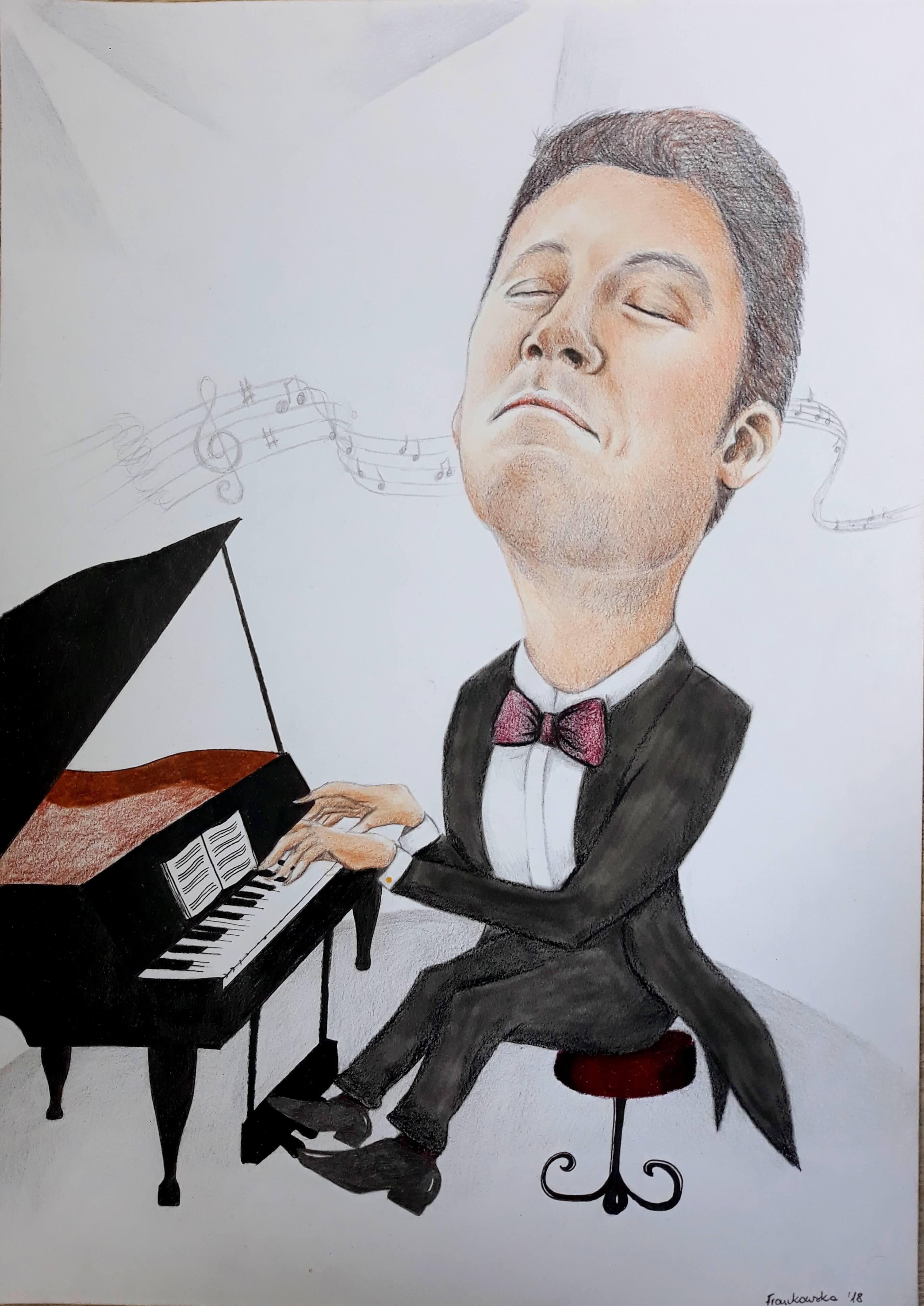 karykatura przy pianinie