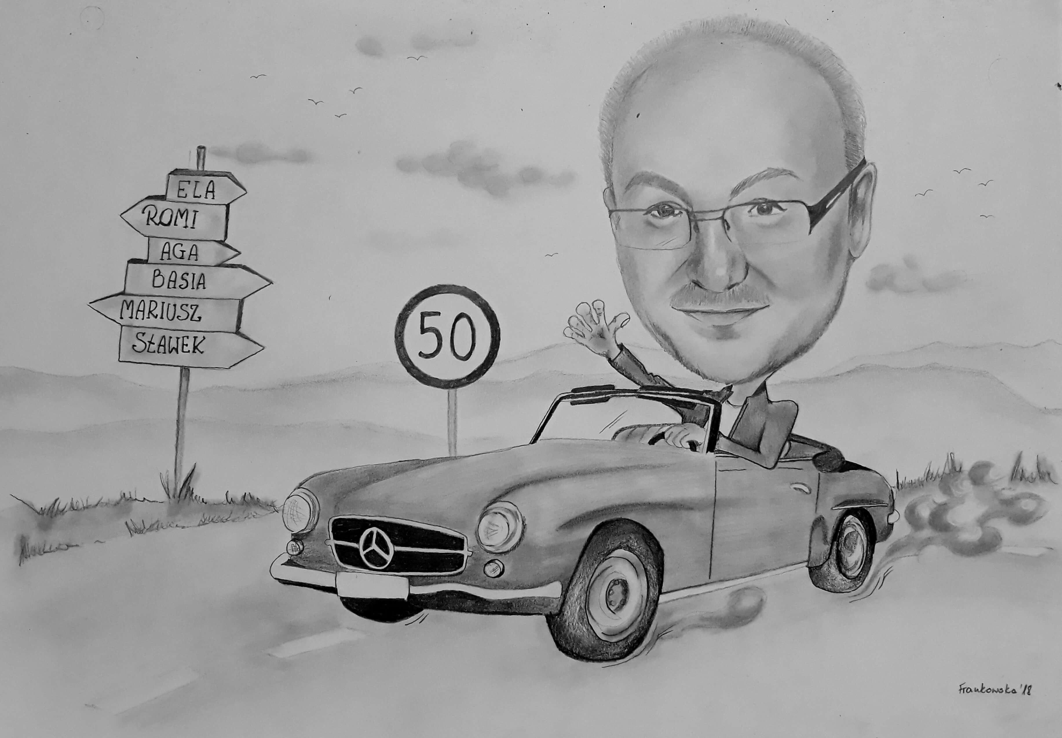 Karykatura z samochodem