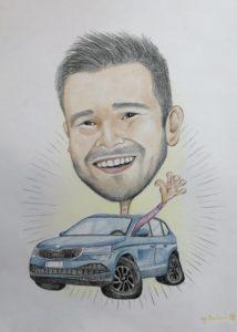 Karykatura w samochodzie