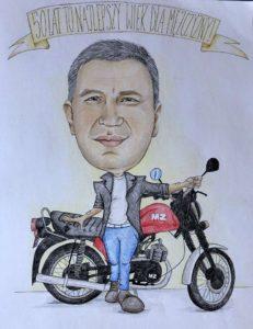 karykatura na motorze