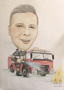 karykatura strażaka