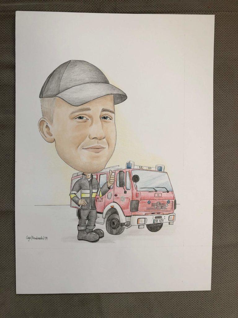 Prezent Dla Kierowcy Karykatura Kierowcy Malarstwo Rysunek
