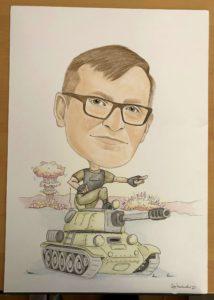 karykatura na czołgu
