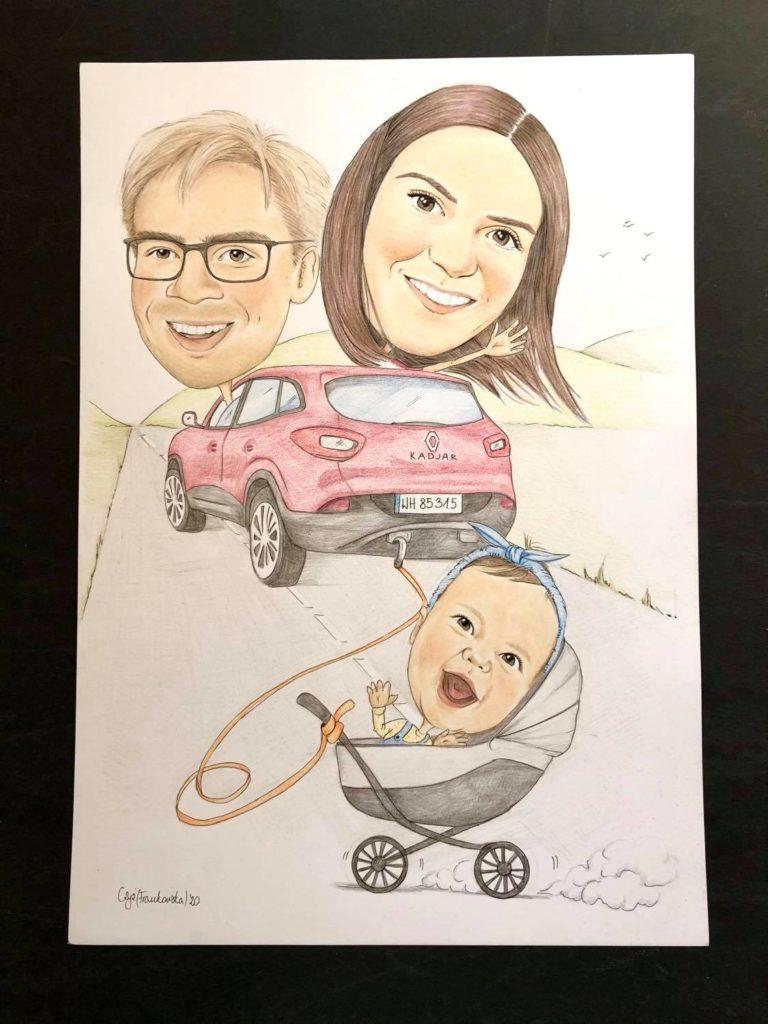 karykatura z wózkiem dziecięcym