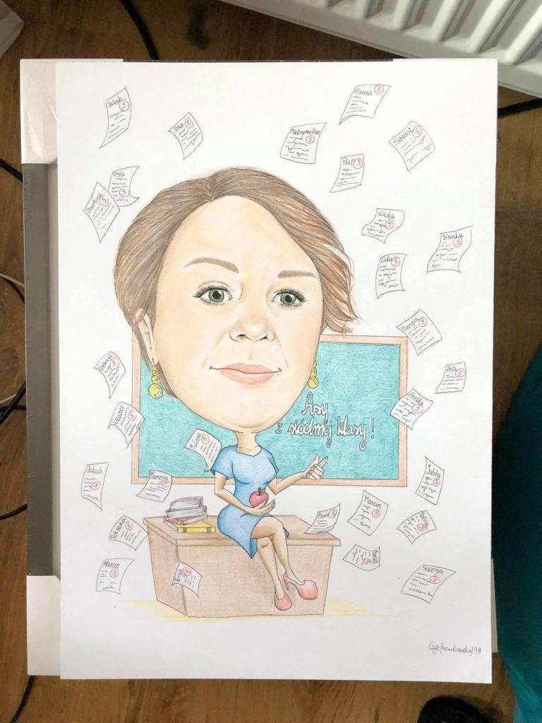 karykatura la nauczycielki