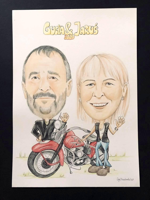 karykatura przy motorze