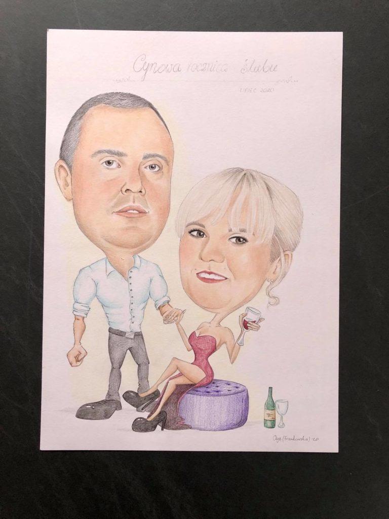 karykatura cynowa rocznica ślubu