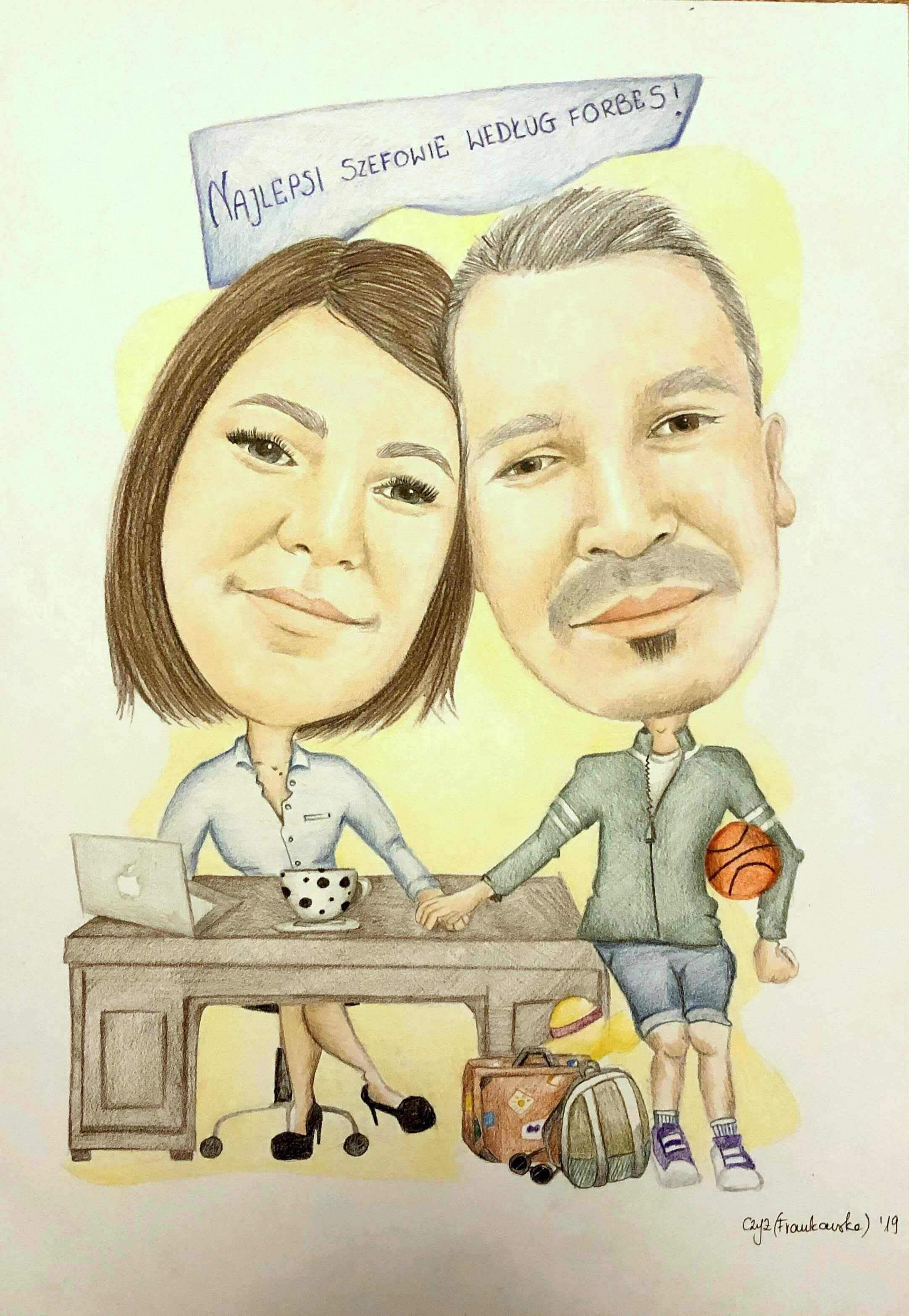 karykatura dla pary szefów