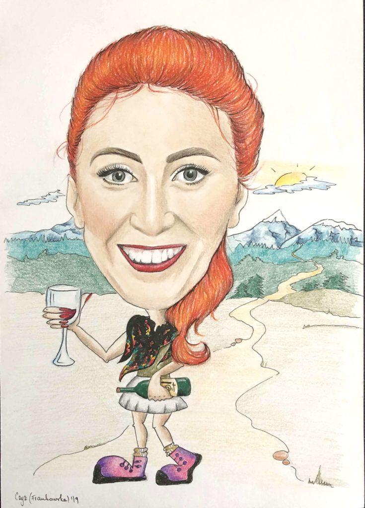 karykatura z winem