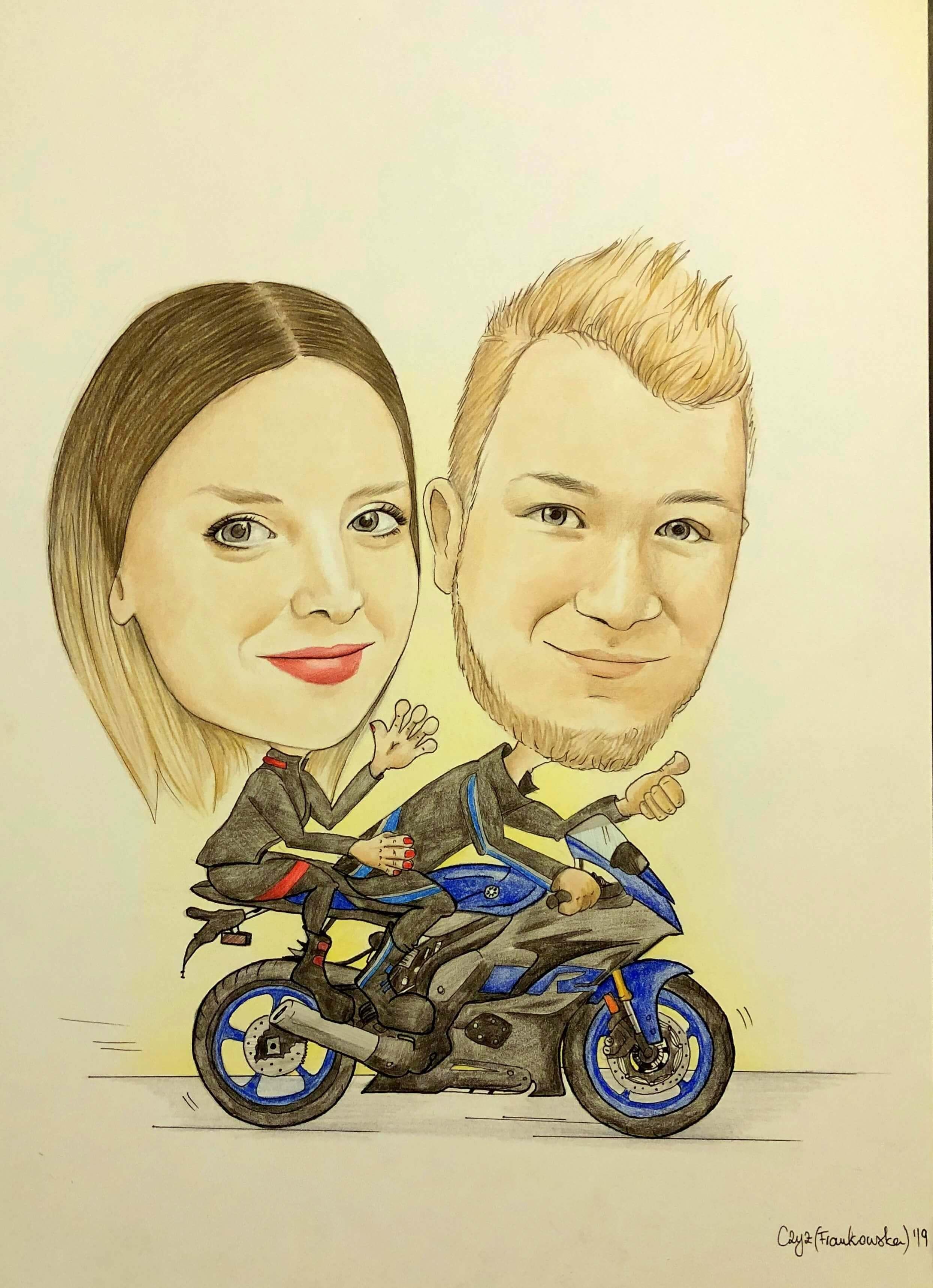 karykatura motocykliści