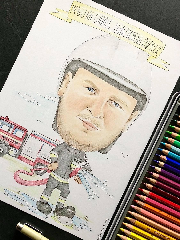 karykatura strażak