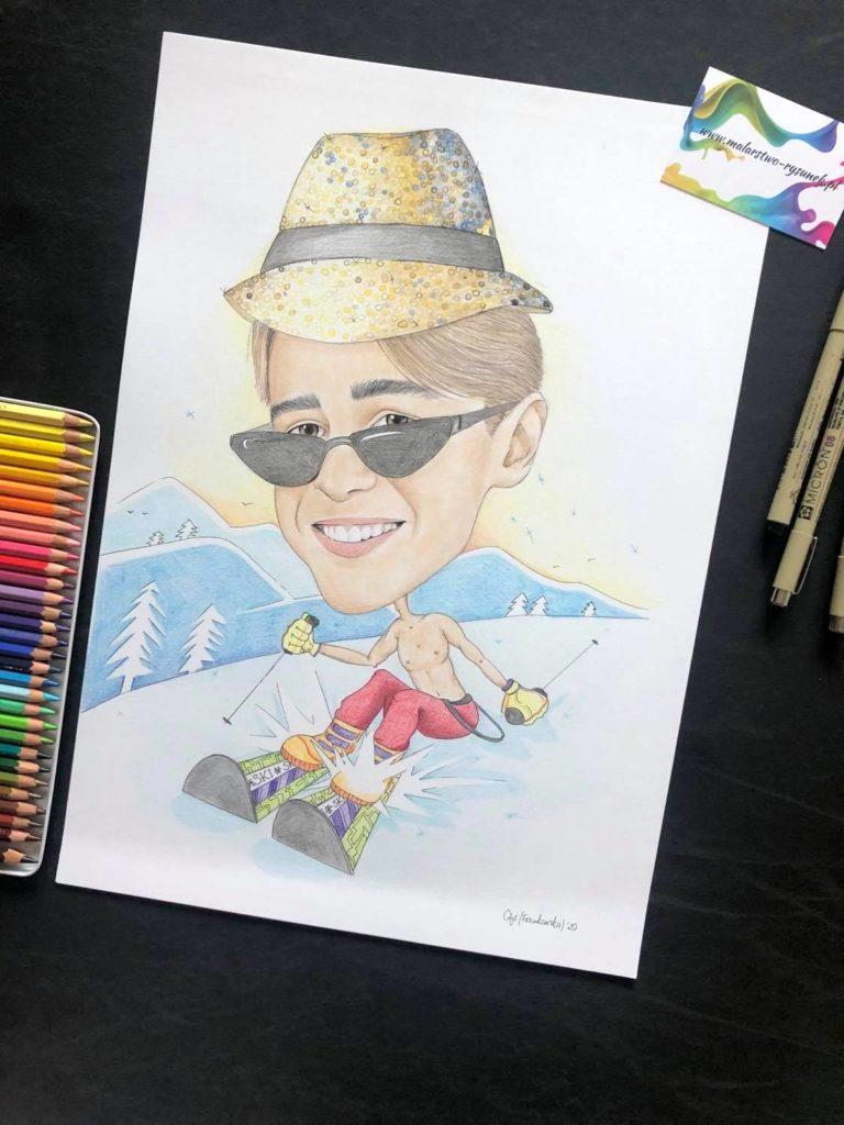 karykatura narciarza