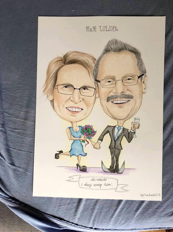 karykatura dla rodziców na rocznicę