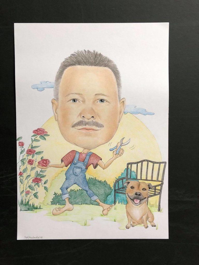 karykatura z psem
