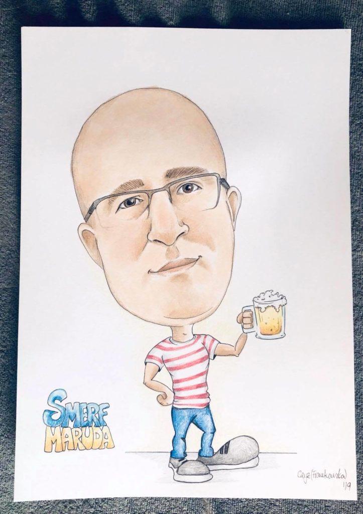karykatura z kuflem piwa