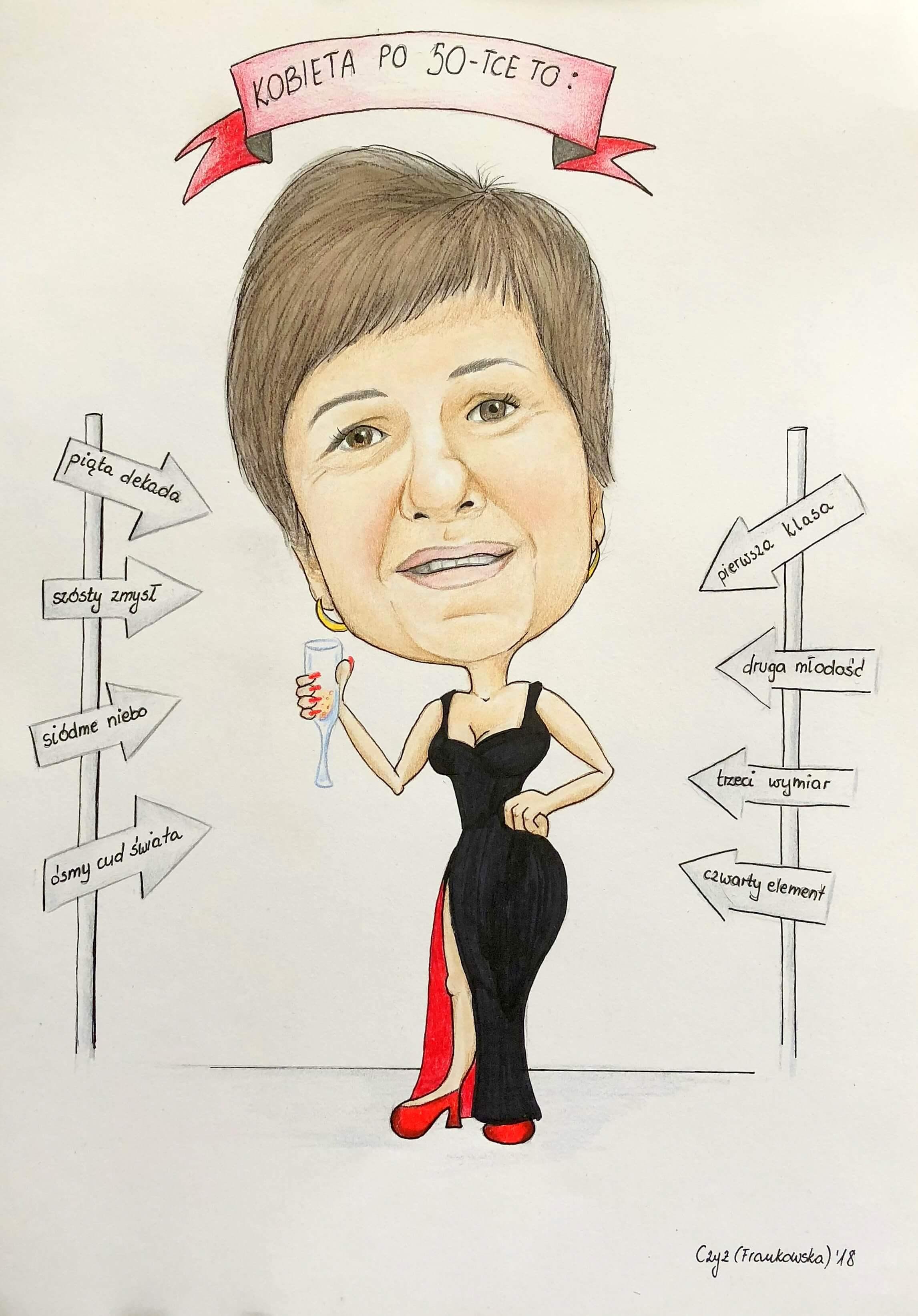 Karykatura kobieta po 50