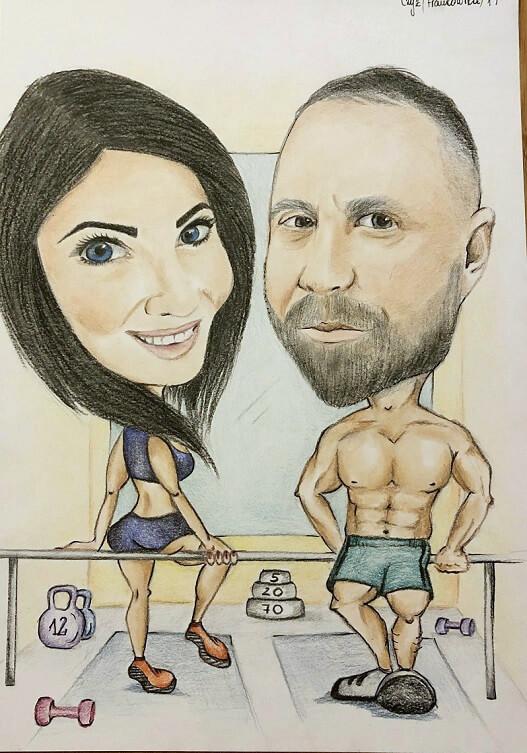 karykatura na siłowni