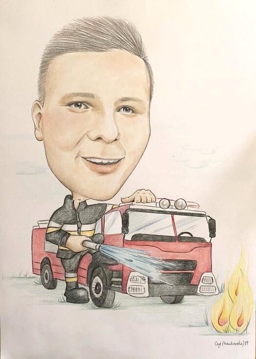 karykatura gaszenie pożaru