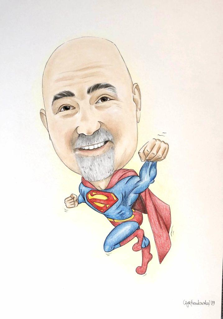 karykatura dla superbohatera