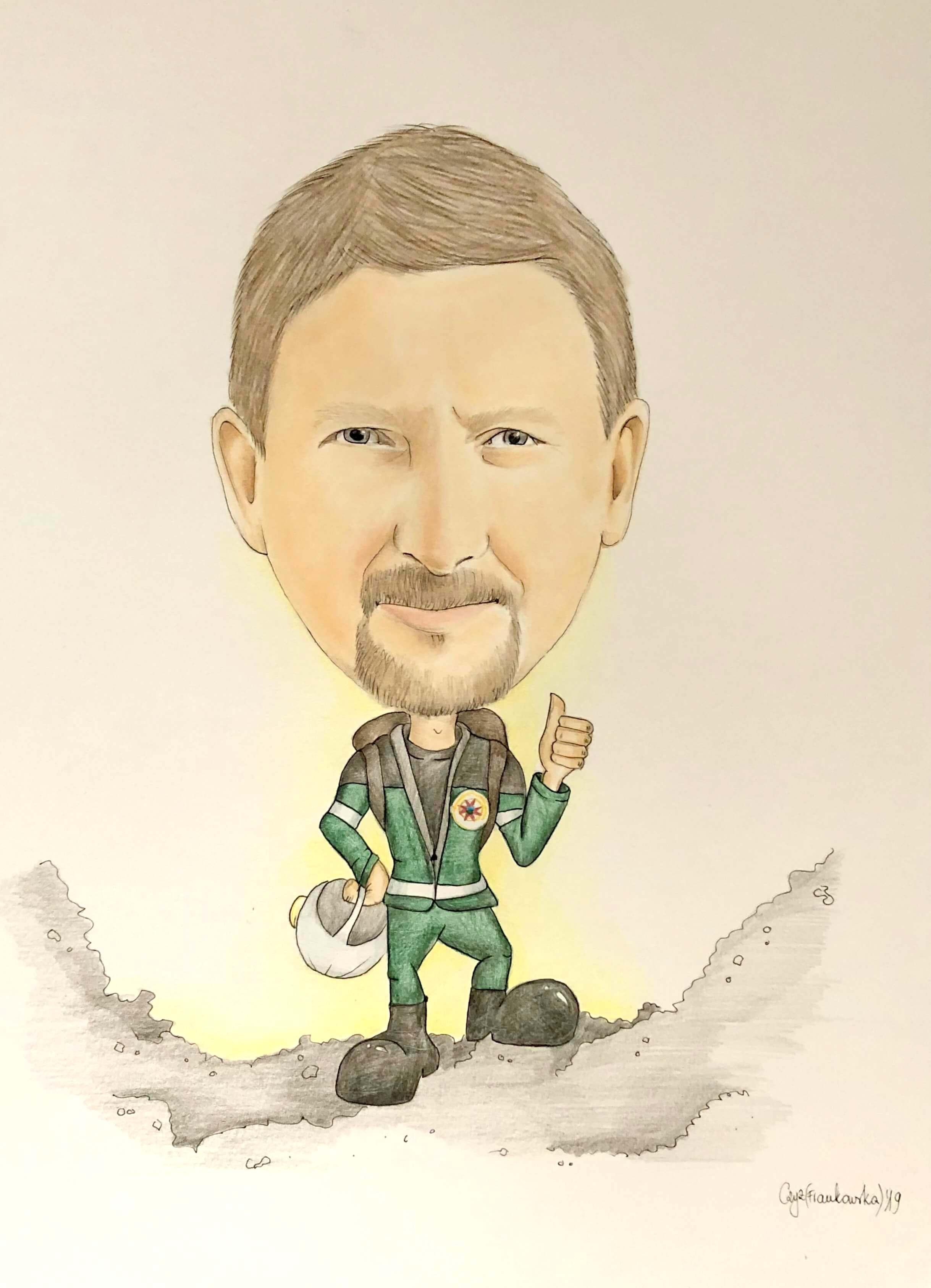 karykatura górnika