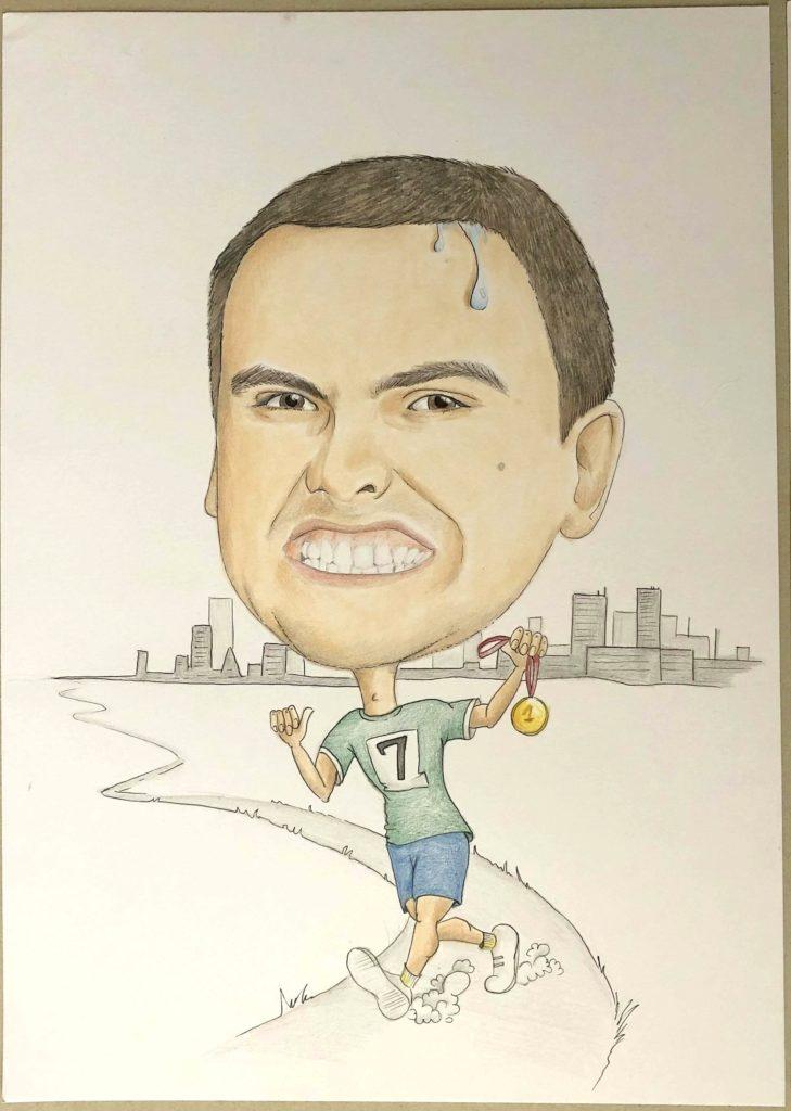 karykatura maratończyk